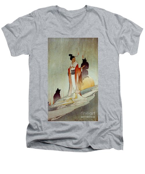 Men's V-Neck T-Shirt featuring the photograph Fox Woman 1912 by Padre Art