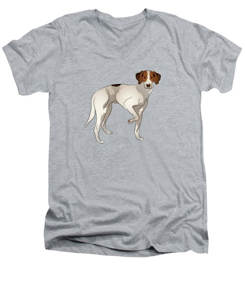 Men's V-Neck T-Shirt featuring the digital art Foxhound by MM Anderson