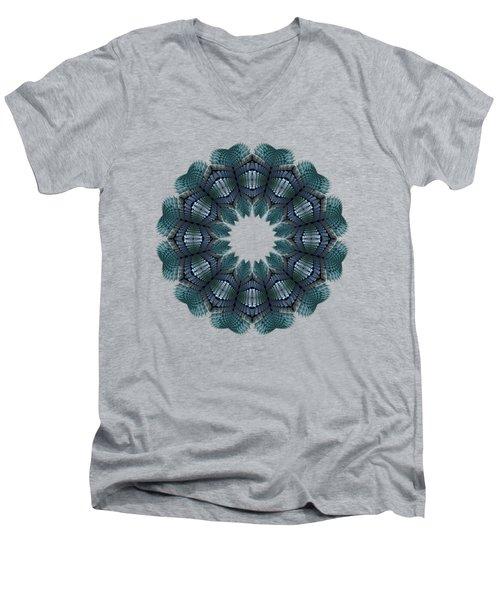 Fractal Wreath-32 Teal T-shirt Men's V-Neck T-Shirt