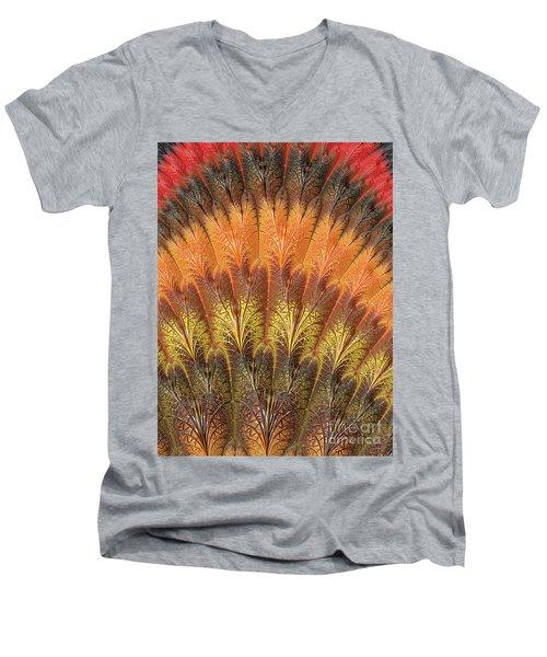 Fractalized Feather Fan Men's V-Neck T-Shirt