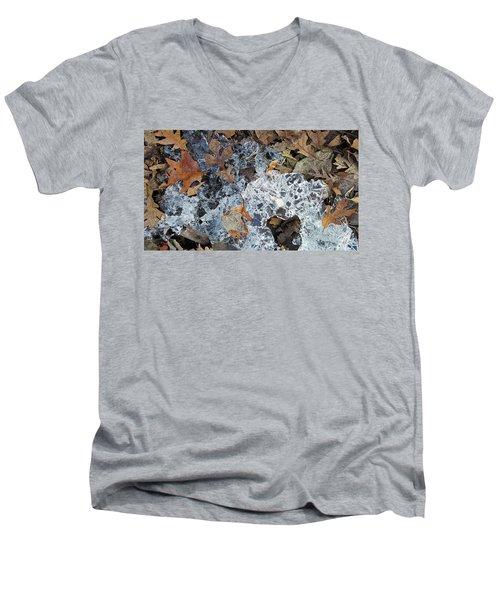 Fractured Ice Among Fall Leaves Men's V-Neck T-Shirt