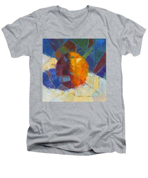 Fractured Orange Men's V-Neck T-Shirt by Susan Woodward