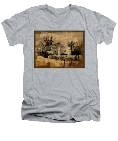 Fragmented Barn  Men's V-Neck T-Shirt