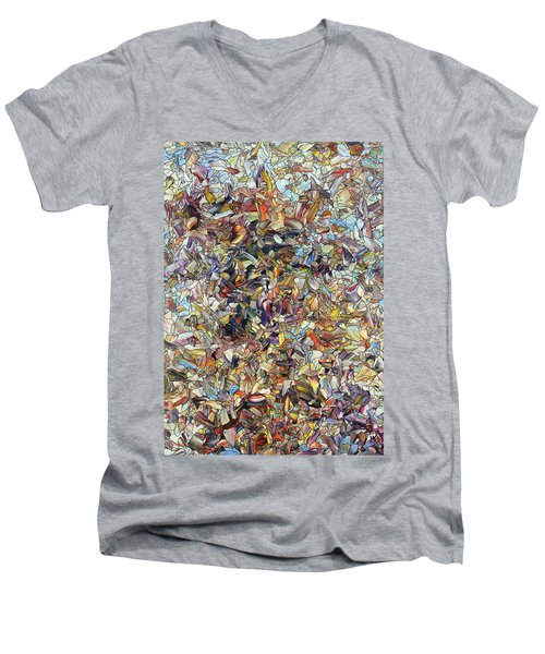 Men's V-Neck T-Shirt featuring the painting Fragmented Horse by James W Johnson