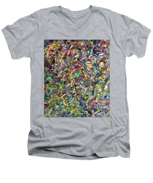Men's V-Neck T-Shirt featuring the painting Fragmented Spring by James W Johnson