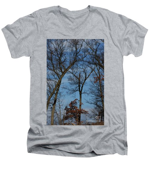 Men's V-Neck T-Shirt featuring the photograph Framed In Oak - 1 by Linda Shafer