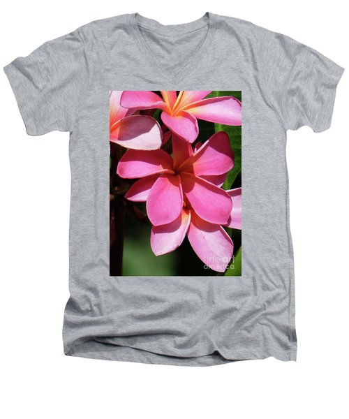 Frangipani Men's V-Neck T-Shirt by Mini Arora