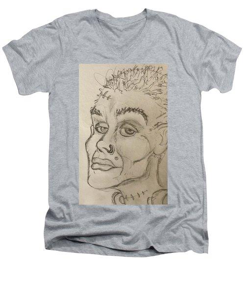 Frankenstein's Neighbor's Roommate's Girlfriend's Sister  Men's V-Neck T-Shirt by Yshua The Painter