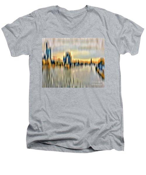 Frankfurt - Golden Sunset Abstract Men's V-Neck T-Shirt
