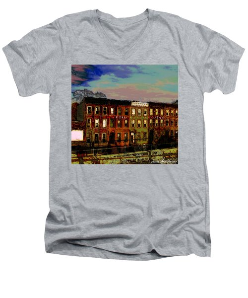 Franklin Ave. Bk Men's V-Neck T-Shirt by Iowan Stone-Flowers