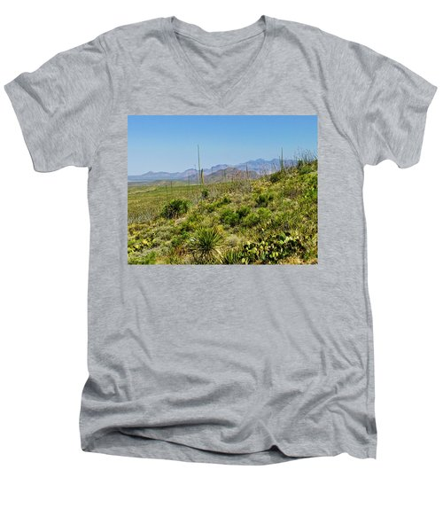 Franklin Mountains State Park Facing North Men's V-Neck T-Shirt by Allen Sheffield