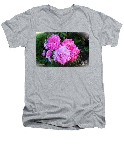 Frank's Roses Men's V-Neck T-Shirt by MaryLee Parker
