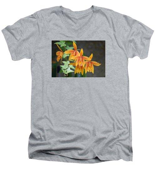 Men's V-Neck T-Shirt featuring the photograph Freckled Flora by Deborah  Crew-Johnson