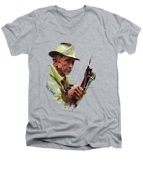 Fred Bear Archery Hunting Bow Arrow Sport Target Men's V-Neck T-Shirt