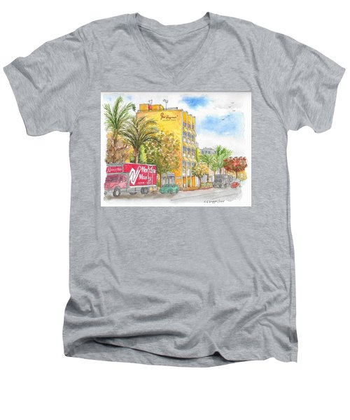 Fred Hayman Building, Cannon Dr And Clifton, Beverly Hills, Ca Men's V-Neck T-Shirt