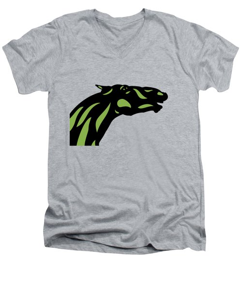 Fred - Pop Art Horse - Black, Greenery, Island Paradise Blue Men's V-Neck T-Shirt