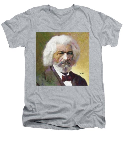 Frederick Douglass Men's V-Neck T-Shirt by Wayne Pascall
