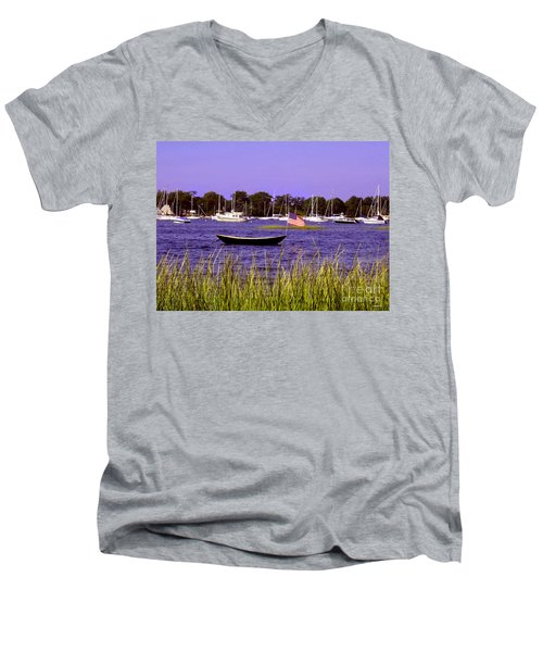 Freedom Bristol Harbor Rhode Island Men's V-Neck T-Shirt by Tom Prendergast