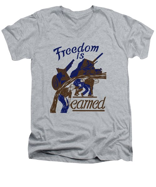 Men's V-Neck T-Shirt featuring the mixed media Freedom Is Earned - Ww2 by War Is Hell Store