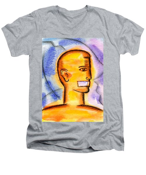 Men's V-Neck T-Shirt featuring the painting Freedom Of Press  by Leon Zernitsky