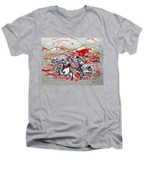 Freedom On The Open Range Men's V-Neck T-Shirt by J R Seymour