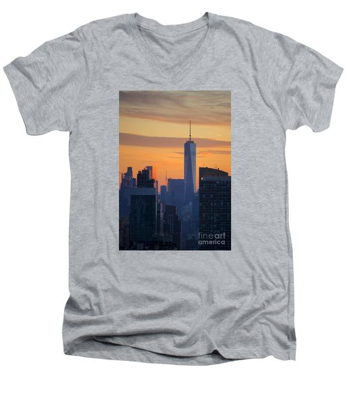 Freedom Tower At Sunset Men's V-Neck T-Shirt by Diane Diederich