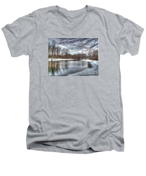 Freezing Up Men's V-Neck T-Shirt by Betsy Zimmerli