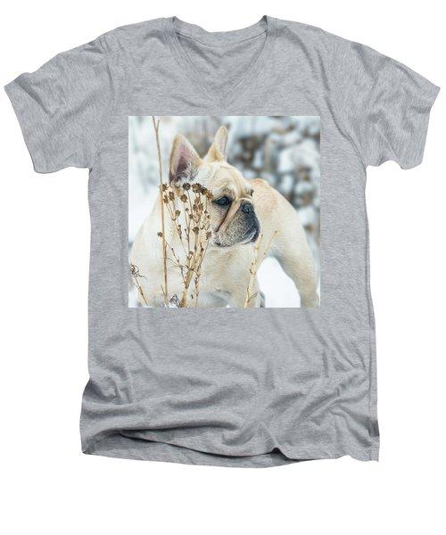 French Bulldog In The Snow Men's V-Neck T-Shirt