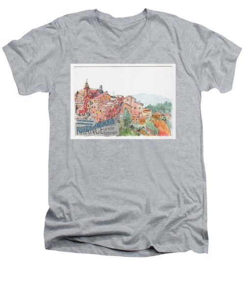 French Hill Top Village Men's V-Neck T-Shirt by Tilly Strauss