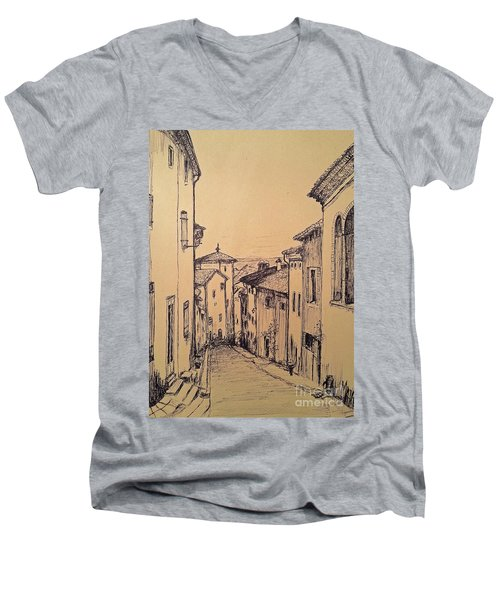 French Little Town Drawing Men's V-Neck T-Shirt by Maja Sokolowska