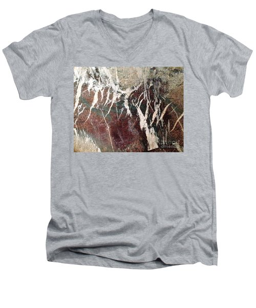 Men's V-Neck T-Shirt featuring the photograph French Marble by Therese Alcorn