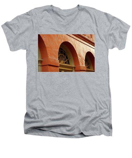 Men's V-Neck T-Shirt featuring the photograph French Quarter Arches by KG Thienemann