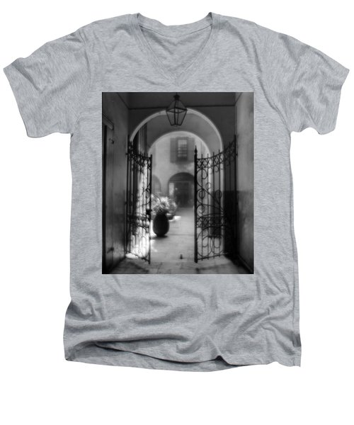 French Quarter Courtyard Men's V-Neck T-Shirt