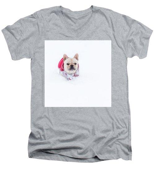 Frenchie In The Snow Men's V-Neck T-Shirt