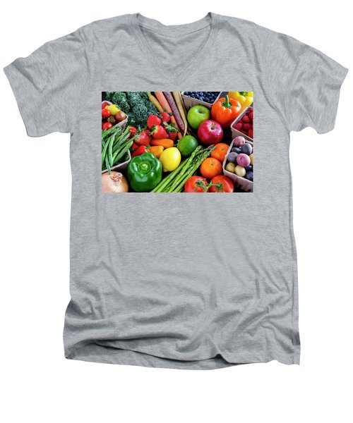 Fresh From The Farm Men's V-Neck T-Shirt by Teri Virbickis