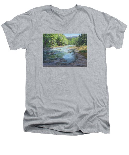 Men's V-Neck T-Shirt featuring the painting Fresh Greens by Karen Ilari