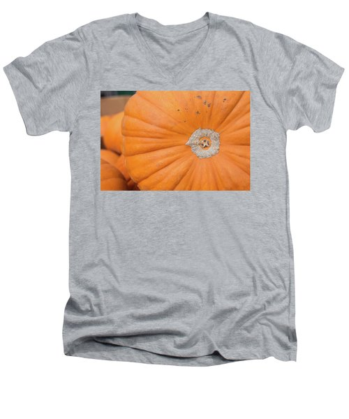 Men's V-Neck T-Shirt featuring the photograph Fresh Organic Orange Giant Pumking Harvesting From Farm At Farme by Jingjits Photography