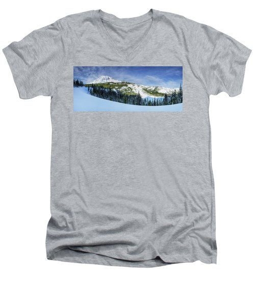 Men's V-Neck T-Shirt featuring the photograph Fresh Snow At Mount Rainier by Dan Mihai
