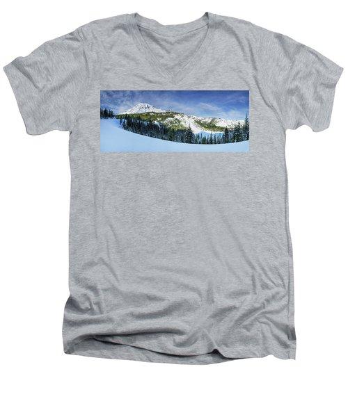 Men's V-Neck T-Shirt featuring the photograph Fresh Snow At Mount Rainier by Dan Mihai