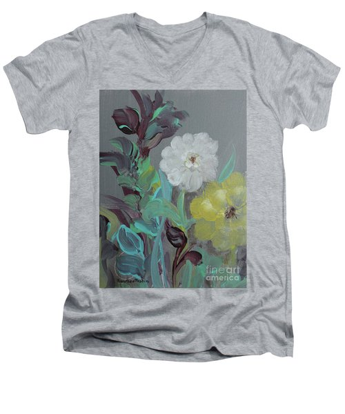 Men's V-Neck T-Shirt featuring the painting Fresh Start  by Robin Maria Pedrero