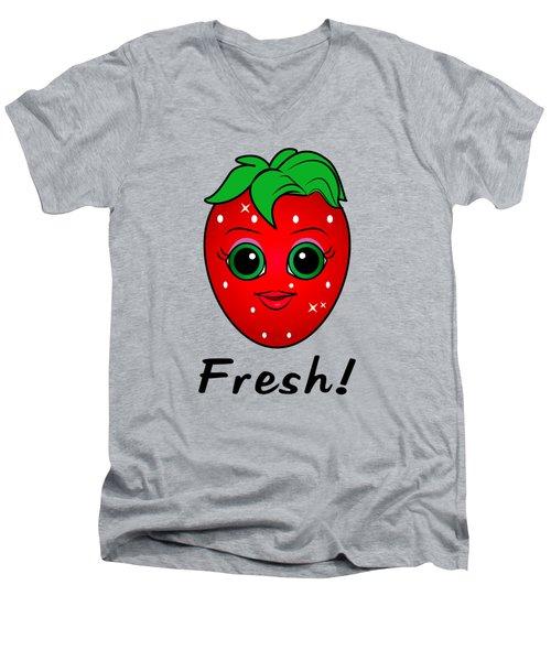 Fresh Strawberry Men's V-Neck T-Shirt by A