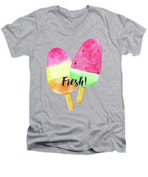 Fresh Summer Refreshing Fruit Popsicles Men's V-Neck T-Shirt by Tina Lavoie