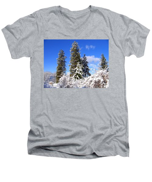 Men's V-Neck T-Shirt featuring the photograph Fresh Winter Solitude by Will Borden