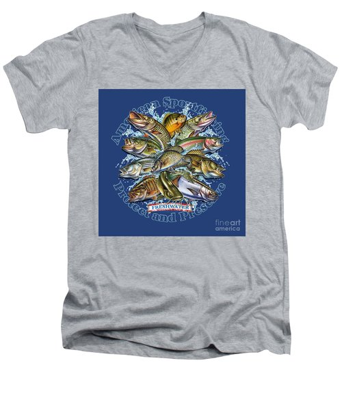 Men's V-Neck T-Shirt featuring the painting Freshwater Fish Preserve by Jon Q Wright JQ Licensing