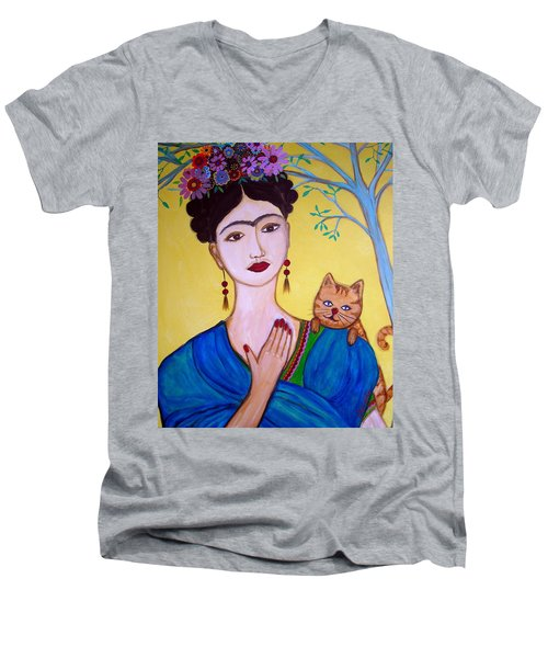 Frida And Her Cat Men's V-Neck T-Shirt by Pristine Cartera Turkus