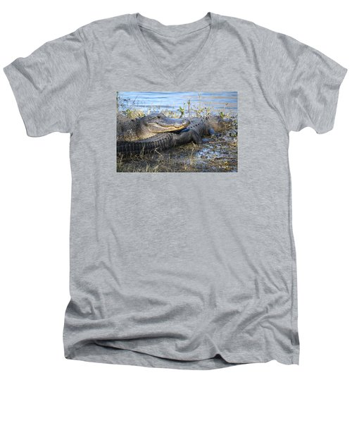 Men's V-Neck T-Shirt featuring the painting Friend, I Got Your Back by Roena King