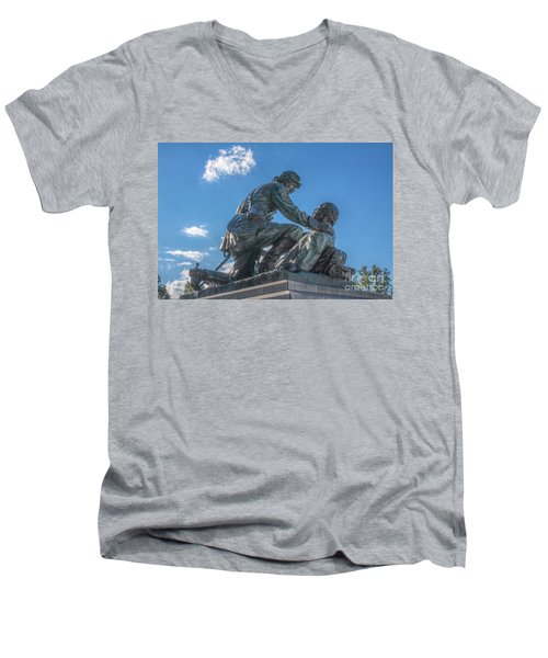 Men's V-Neck T-Shirt featuring the photograph Friend To Friend Monument Gettysburg by Randy Steele