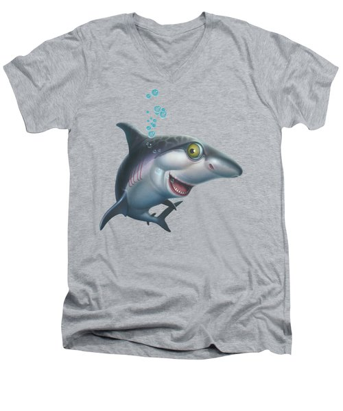 friendly Shark Cartoony cartoon under sea ocean underwater scene art print blue grey  Men's V-Neck T-Shirt by Walt Curlee