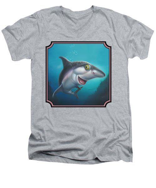 Friendly Shark Cartoony Cartoon - Under Sea - Square Format Men's V-Neck T-Shirt