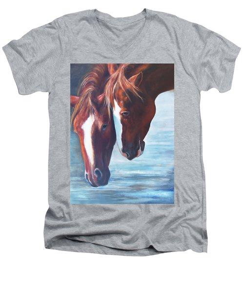 Friends For Life Men's V-Neck T-Shirt by Karen Kennedy Chatham